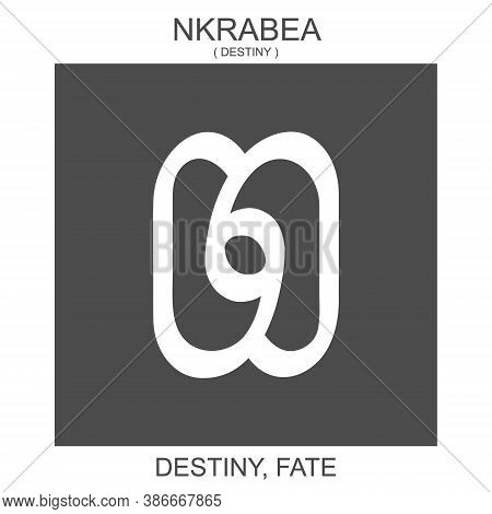 Vector Icon With African Adinkra Symbol Nkrabea. Symbol Of Destiny And Fate