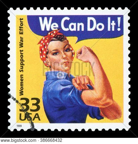 United States Circa 1999 : Canceled Usa. Postage Stamp Showing An Image Of Rosie The Riveter Commemo