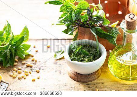 Pesto. Ingredients For Making Pesto Sauce. Copy Space
