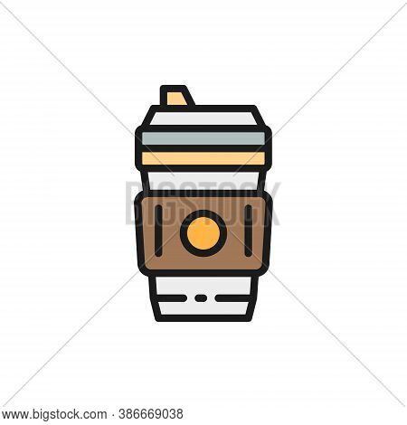 Disposable Cup With Hot Drink, Coffee Takeaway Flat Color Line Icon.
