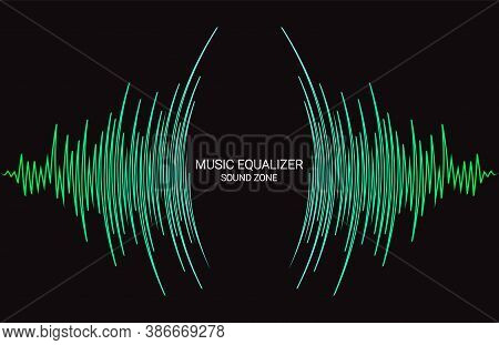 Radial Sound Wave Curve Banner. Vector Colorful Equalizer Background. Abstract Technology Cover For