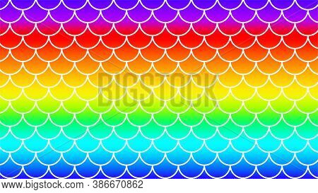 Mermaid Pattern On Rainbow Colorful Background, Fish Scale Pattern Art Line On Rainbow Background, M