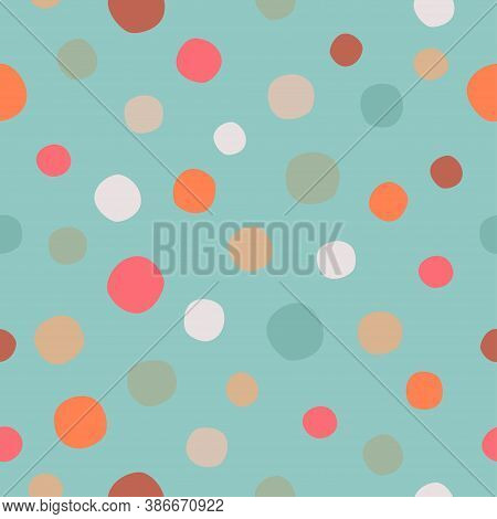 Polka Dots Seamless Pattern On Sea Blue-colored Background. Simple Vector Scalable Design For Surfac