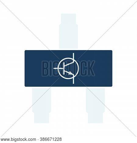 Smd Transistor Icon. Flat Color Design. Vector Illustration.