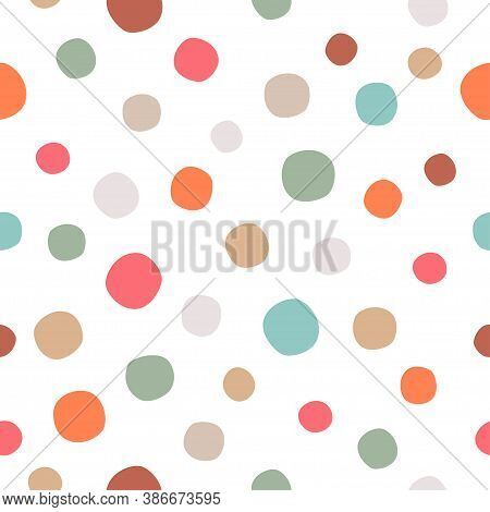 Polka Dots Seamless Pattern On Transparent Background. Simple Vector Scalable Design For Surfaces, T