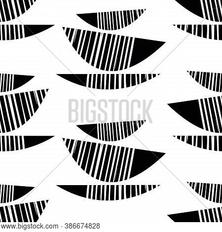 Abstract Stack Of Bowls Vector Seamless Pattern Background. Monochrome Tribal Style Set Of Kitchen U