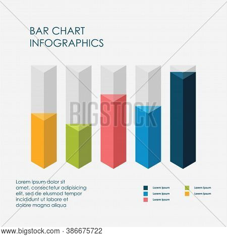 Triangle Bar Chart Infographics Elements 3d Vector Flat Design, Sign, Icon Full Color, Template