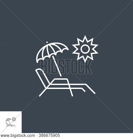 Chaise Lounge Icon. Chaise Lounge Related Vector Line Icon. Isolated On Black Background. Editable S