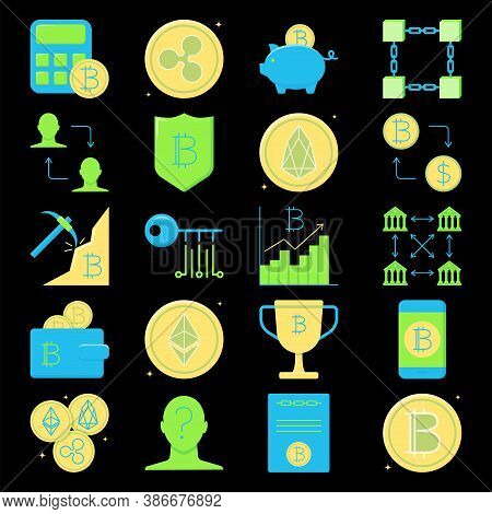 Bitcoin And Altcoins Icon Set In Flat Style