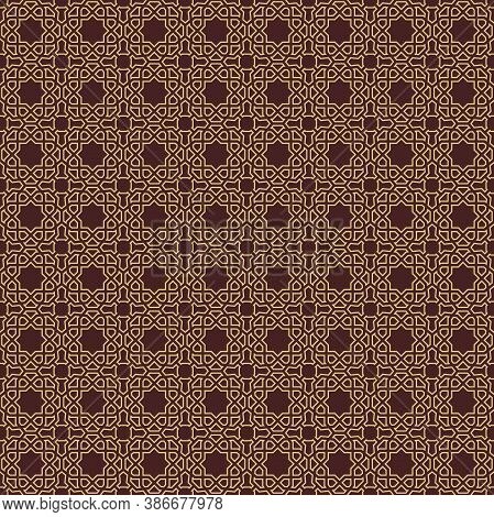 Seamless Vector Golden Ornament In Arabian Style. Geometric Abstract Background. Pattern For Wallpap