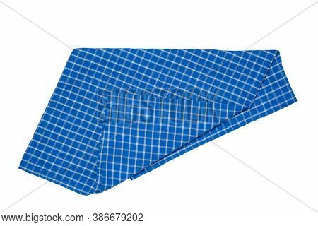 Towels Isolated. Close-up Of Blue And White Checkered Napkin Or Picnic Tablecloth Texture Isolated O