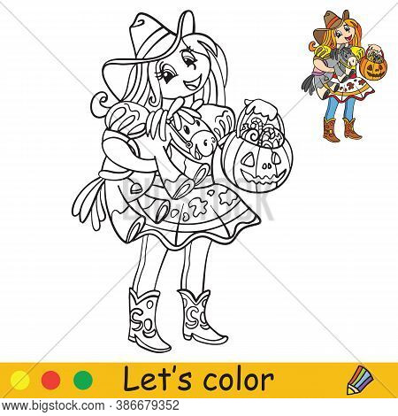 Halloween Coloring With Colored Example Cute Cowgirl