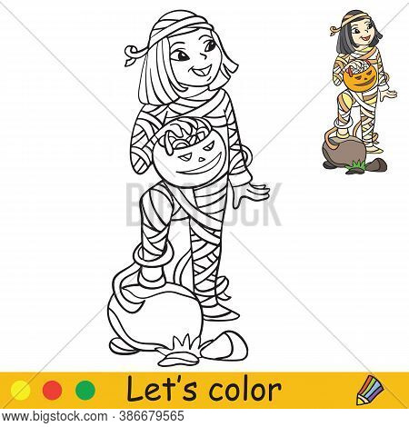 Halloween Coloring With Colored Example Cute Mummy