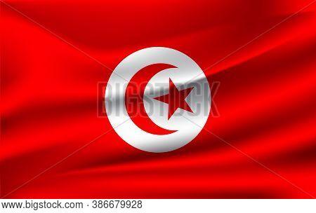 Realistic Waving Flag Of Republic Of Tunisia. Fabric Textured Flowing Flag Of Tunisia.