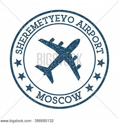 Sheremetyevo Airport Moscow Logo. Airport Stamp Vector Illustration. Moscow Aerodrome.