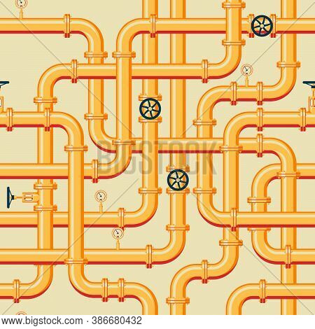 Pipeline Seamless Pattern. Intertwining Golden Pipes With Valves And Manometers. Vector Illustration