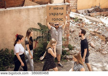 I Have A Voice. Dude With Sign - Man Stands Protesting Things That Annoy Him. Solo Demonstration His