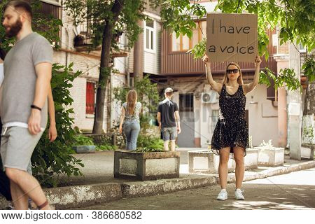 I Have A Voice. Dude With Sign - Woman Stands Protesting Things That Annoy Her. Solo Demonstration R