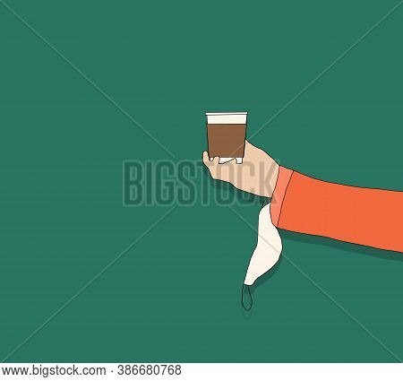 Hand Holding Disposable Coffee Cups With Protective Face Mask During Corona Virus Or Covid-19 Quaran