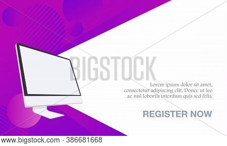 Vector Illustration Of A Webinar With A Computer. Suitable For Online Seminar Banner Poster Template
