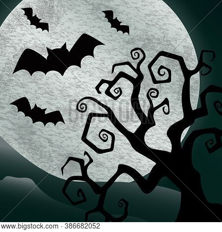 A Halloween Background Featuring Bats And A Full Moon. Halloween Background, Flying Bat. Halloween B