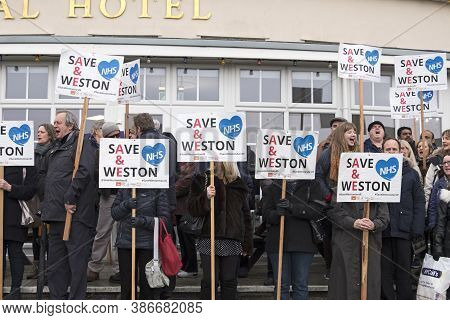Weston-super-mare, Uk - February 5, 2019: Demonstrators Protest Against The Proposed Downgrading Of