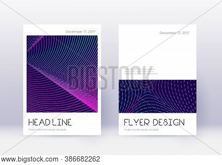 Minimal Cover Design Template Set. Neon Abstract Lines On Dark Blue Background. Delightful Cover Des