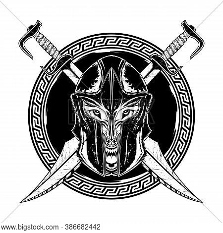 Wolf. Greek Fantasy Warrior On The Background Of Crossed Swords. Spartan. God Of War Ares. Vector Il