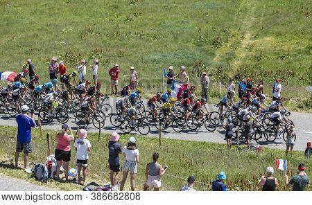 Col De La Madeleine, France - July 19, 2018: The British Cyclist Geraint Thomas Of Team Sky Wearing