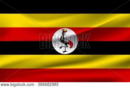 Realistic Waving Flag Of Republic Of Uganda. Fabric Textured Flowing Flag Of Uganda.