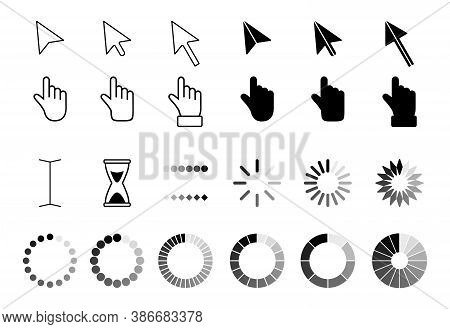 Web Arrows Cursors, Mouse Clicking And Grab Hand Pixel Icon. Computer Pointers, Internet Cursor Clic