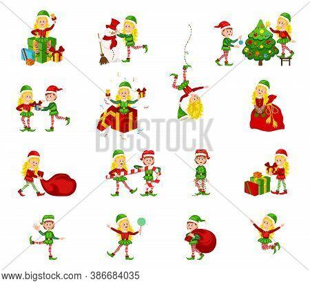 Christmas Elf Girls Character. Santa Claus Helpers Cartoon, Cute Dwarf Elves Fun Characters.  Happy