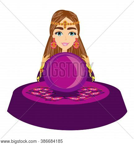 Fortune Teller Woman Reads The Future From The Crystal Ball , Vector Illustration