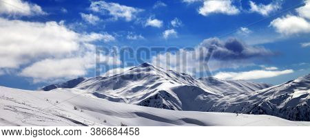 Panoramic View On Off-piste Ski Slope And Beautiful Sky With Clouds In Sun Evening. Tetnuldi, Caucas