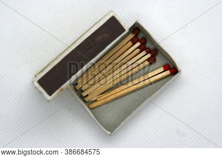 Wooden Matches. Small Box Of Wooden Matches.