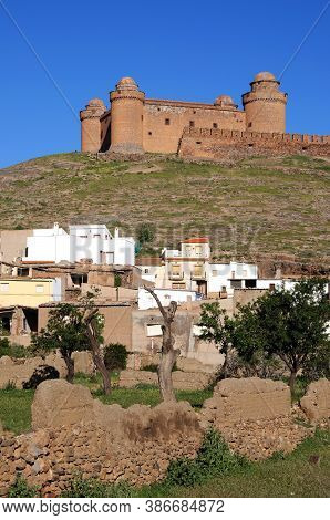 View Of The Castle On The Hilltop With Town Buildings In The Foreground, La Calahorra, Granada Provi