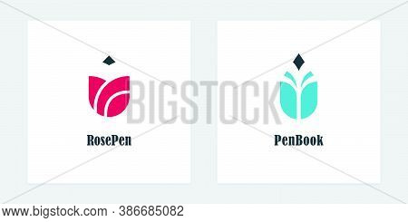 Pencil Logos With Rose And Book Symbols. Vector Logo Designs For Bookstores, Authors, Publishers And