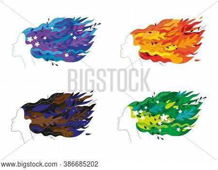 Graceful Floral Four Girl Heads Faces Profiles Set With Flowing Hair In The Wind Like Four Moods Or