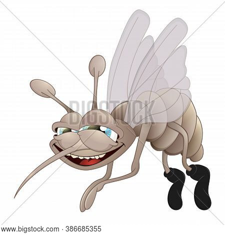 Vector Illustration Mosquito. Sign Or Logo In The Form Of A Mosquito, Painted In Color. Insect Masco