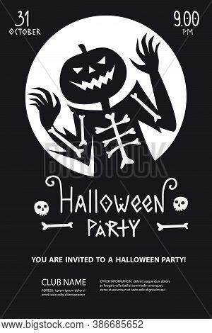 Halloween Party Poster Invitation With Silhouette Of Ghost Jack In Minimalist Black And White Style.