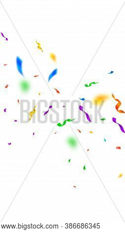 Streamers And Confetti. Colorful Streamers Tinsel And Foil Ribbons. Confetti Falling Rain On White B