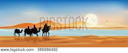 Vector Illustration Arab Family With Camel Walking In Desert Sands With Sunset In Evening,panoramic