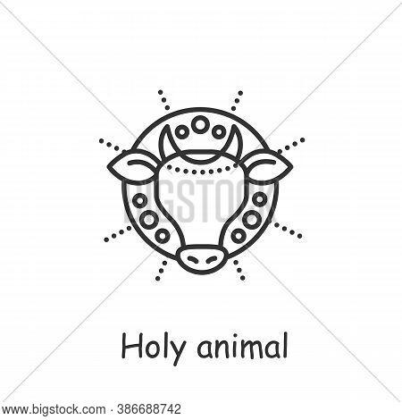 Holy Cow Line Icon. Sacred Animal, Symbol Of Hinduism, Zoroastrianism. Cows Protection, Worship. Veg