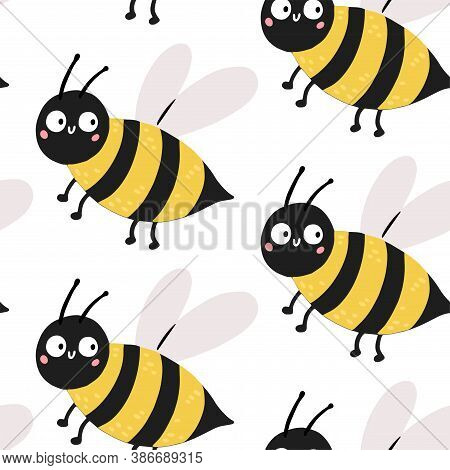 Hand Drawn Baby Vector Seamless Pattern Illustration With Cute Bee. Scandinavian Style Flat Design.