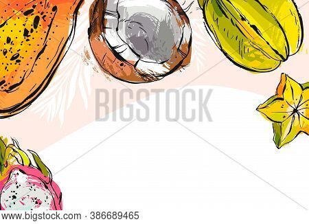 Hand Drawn Vector Abstract Stock Flat Graphic Illustration With Business Card Or Border Template Wit