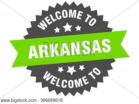 Arkansas Sign. Welcome To Arkansas Green Sticker