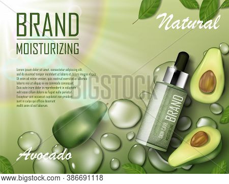 Avocado Beauty Cosmetics Oil Ad. Organic Essence Bottle Mockup Laying On Watery Green Background. Na