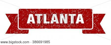 Atlanta Ribbon. Red Atlanta Grunge Band Sign