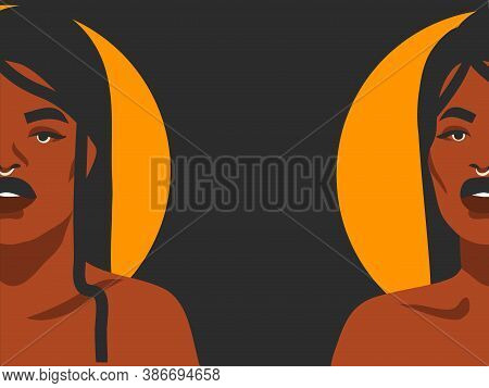 Hand Drawn Vector Abstract Stock Flat Graphic Illustration With Ethnic Tribal Black African American