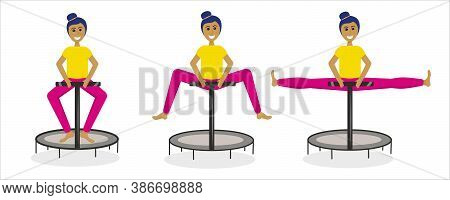 A Set Of Girls Jumping On A Fitness Trampoline Isolated On A White Background. The Process Of Jumpin